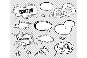 Sound effect set design for comic book. Comic Book Bang cloud, pow sound, bomb pow sound. Comic speech bubbles set