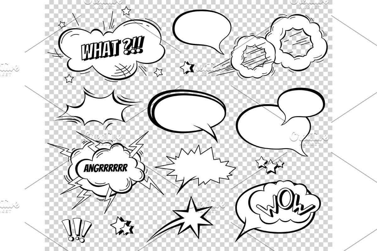 Sound effect set design for comic book. Comic Book Bang cloud, pow sound, bomb pow sound. Comic speech bubbles set