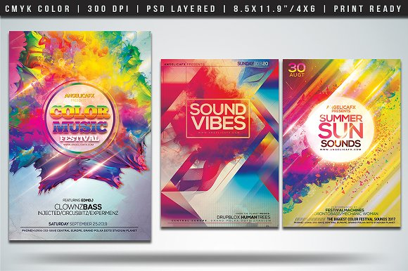 colorful flyers bundle vol 4 flyer templates creative market