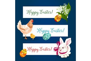 Easter holiday banner set with egg, bunny, chicken
