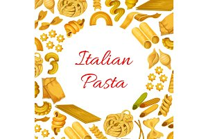 Italian pasta macaroni, spaghetti vector poster