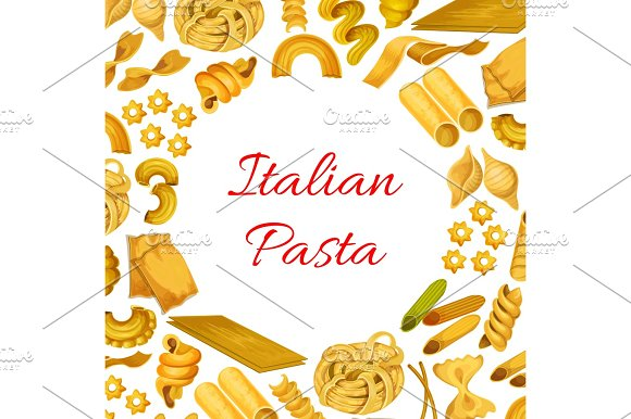 Italian Pasta Macaroni Spaghetti Vector Poster