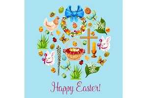 Happy Easter spring holiday greeting card design