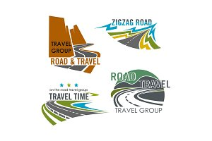 Road travel or highway construction vector icons