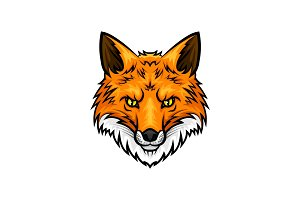 Fox head muzzle or snout vector mascot icon
