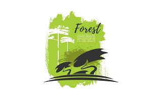 Green forest trees vector eco poster
