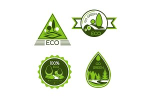 Eco green and nature protection vector icons