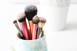 Makeup Brushes In A Cup