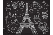 Vector Chalkboard Doodle Paris