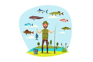 Fisher man with fish catch vector fishing