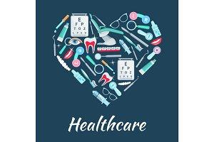Healthcare medicines vector heart poster