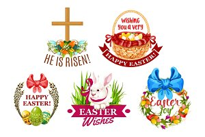 Easter egg, rabbit, flowers cartoon emblem set