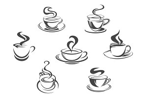 Coffee cups or mugs steam vector icons set