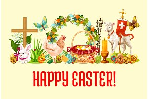 Happy Easter Day greeting banner design