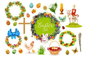Easter holiday symbols with egg, rabbit, chicken