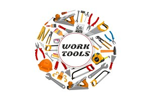 Repair construction work tools vector poster