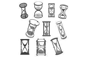Hourglass vector isolated icons set