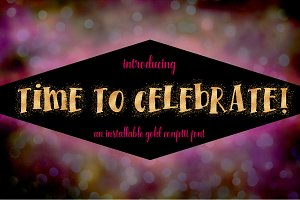 Time To Celebrate Gold Confetti Font