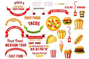 Fast food meal vector isolated icons, ribbons set