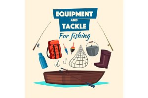 Fishing equipment and fisher vector tackle set