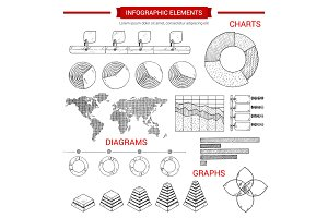 Infographic sketch graph, chart vector elements