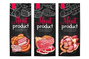Meat products delicatessen vector banners sketch