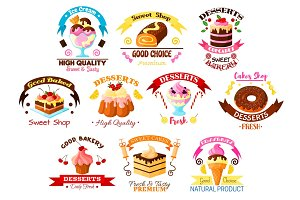 Desserts and cakes vector icons or emblems set