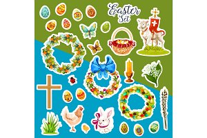 Easter sticker set with spring holiday symbols