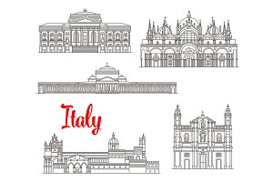 Italy architecture buildings vector icons