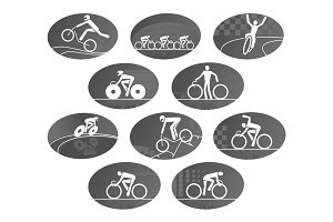 Bicycle cycling race sport vector icons set
