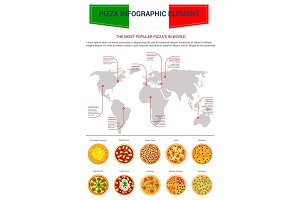 Pizza popular world map infographics vector