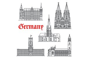Germany architecture buildings vector icons