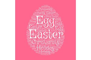 Easter egg greeting card with word cloud