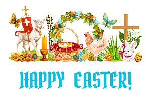 Easter spring holiday cartoon banner design