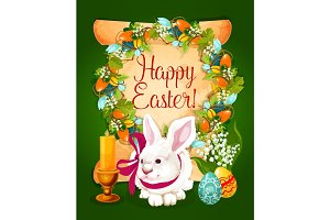 Easter eggs with rabbit card on paper scroll