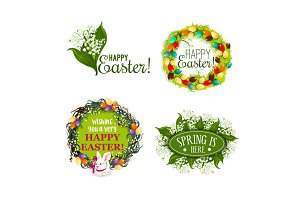 Easter spring holiday cartoon badge set design