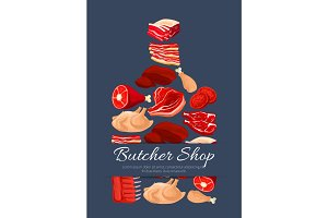 Meat and butchery products vector poster