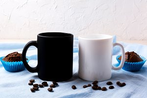 White and black mug mockup