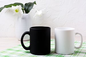 White and black mug mockup