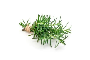 Tied bunch of fresh rosemary, isolated on white background