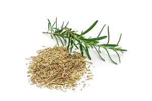 Dry rosemary tea and rosemary twig isolated on white
