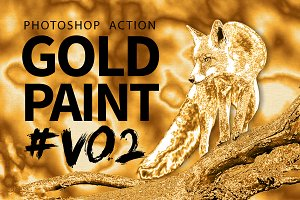 Gold Paint Photo Effect V02