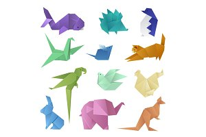 Origami style of different paper animals geometric game japanese toys design and asia traditional decoration hobby game vector illustration.