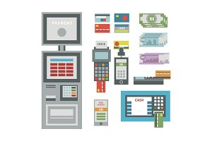 ATM icons vector illustration.