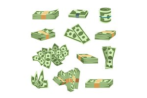 Dollar paper business finance money stack of bundles us banking edition and banknotes bills isolated wealth sign investment currency vector illustration.
