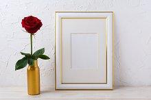 Frame mockup with burgundy red rose