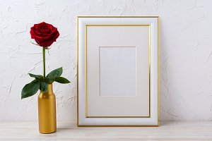 Frame mockup with burgundy red rose