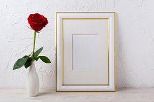 Frame mockup with red rose