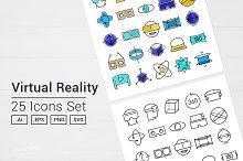 Virtual Reality VR Goggles Icons Set