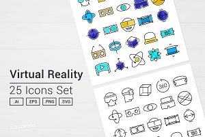 Virtual Reality VR Goggles Icons Set